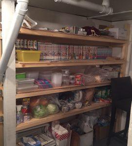 完成後、地べたに山積みになっていたものを棚に収納。漫画用スペースがすでに不足気味ww